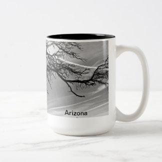 Sun through branches Two-Tone coffee mug