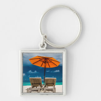 Sun Umbrella On Sandy Beach |Maldives Key Ring