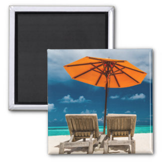 Sun Umbrella On Sandy Beach |Maldives Magnet