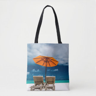 Sun Umbrella On Sandy Beach |Maldives Tote Bag
