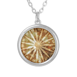 Sun Universe Cosmic Warm Golden Brown Colors Silver Plated Necklace