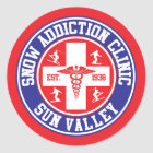 Sun Valley Snow Addiction Clinic Classic Round Sticker