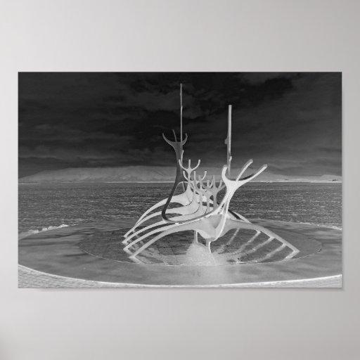 Sun Voyager Sculpture, Iceland, Reverse B/W Poster