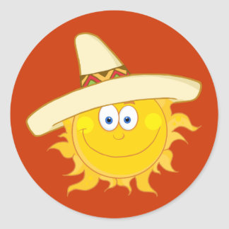 Sun Wearing Sombrero Classic Round Sticker