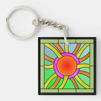 Sun with Rays Deco Art Double-Sided Square Acrylic Key Ring