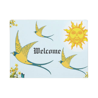 sun with yellow birds doormat
