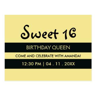 Sun Yellow Black | Stripes Sweet Sixteen Birthday Postcard