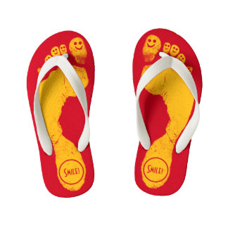 Sun Yellow Footprints Smiley-Toes™ Run-Around Red Thongs