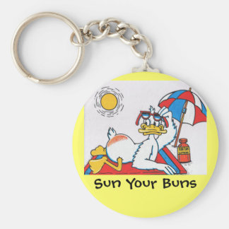 Sun Your Buns Vacation Humor Key Ring