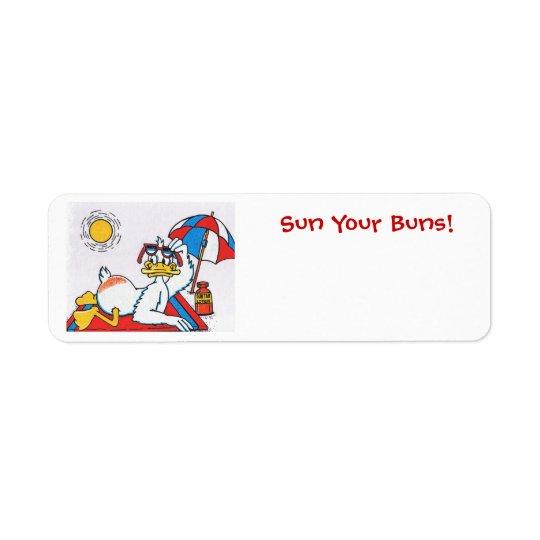 Sun Your Buns/Vacation Humour Return Address Label