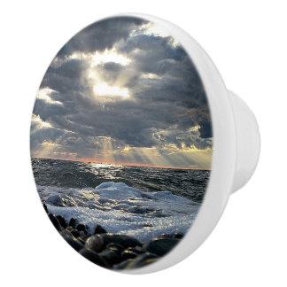 Sunbeams on a Rocky Shore Ceramic Knob