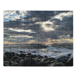 Sunbeams on a Rocky Shore Jigsaw Puzzle