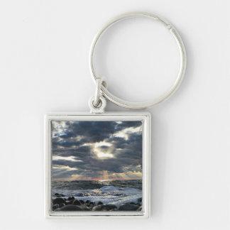 Sunbeams on a Rocky Shore Key Ring