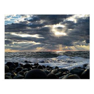 Sunbeams on a Rocky Shore Postcard