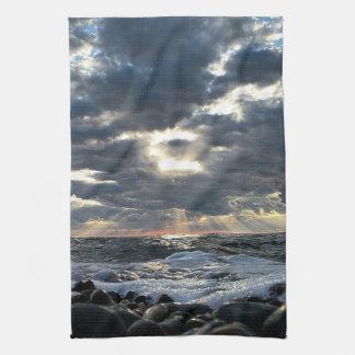 Sunbeams on a Rocky Shore Tea Towel