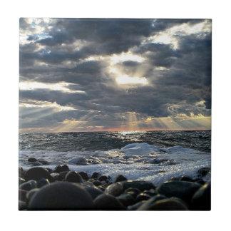 Sunbeams on a Rocky Shore Tile