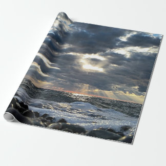 Sunbeams on a Rocky Shore Wrapping Paper