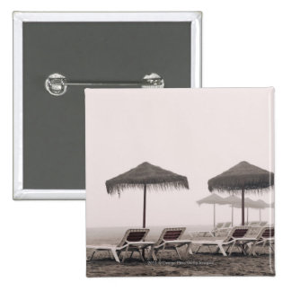 Sunbeds And Umbrella On Playamar Beach 15 Cm Square Badge