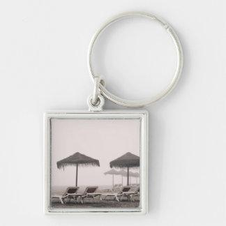 Sunbeds And Umbrella On Playamar Beach Key Ring