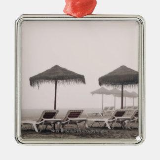 Sunbeds And Umbrella On Playamar Beach Metal Ornament