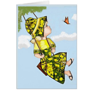 Sunbonnet and Butterfly Thinking of You Card