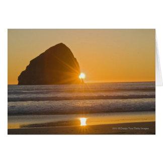 Sunburst And Haystack Rock At Cape Kiwanda Card