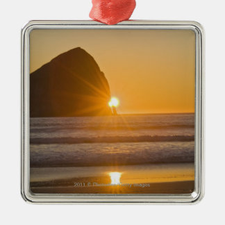 Sunburst And Haystack Rock At Cape Kiwanda Metal Ornament