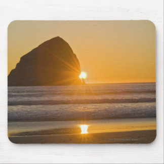 Sunburst And Haystack Rock At Cape Kiwanda Mouse Pad