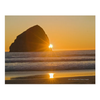 Sunburst And Haystack Rock At Cape Kiwanda Postcard
