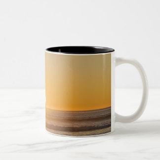 Sunburst And Haystack Rock At Cape Kiwanda Two-Tone Coffee Mug