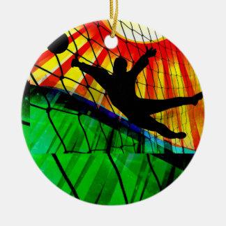 Sunburst and Net Soccer Goalie Invite Ceramic Ornament