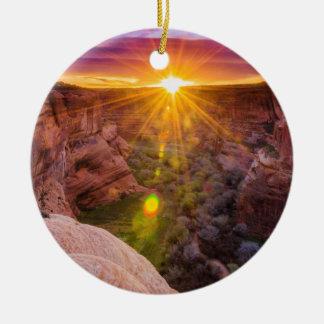 Sunburst at Canyon de Chelly, AZ Ceramic Ornament