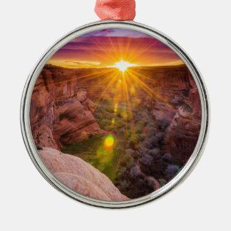 Sunburst at Canyon de Chelly, AZ Metal Ornament