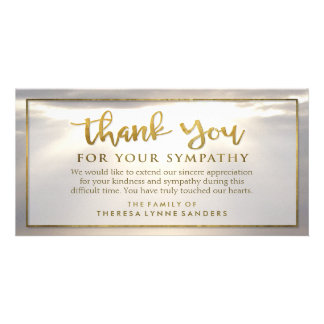 Sunburst Golden Thank You Custom Sympathy Card Customised Photo Card