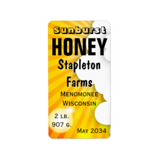 Sunburst Honey Jar Personalized Address Label