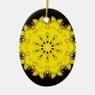 Sunburst Kaleidoscope Oval Christmas Ornament