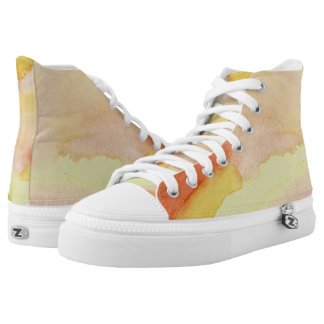 Sunburst Stained Glass Hi Top Printed Shoes