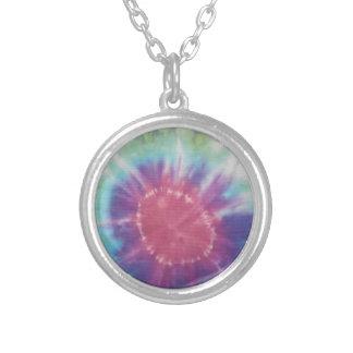 Sunburst Tie Dye cool I Silver Plated Necklace