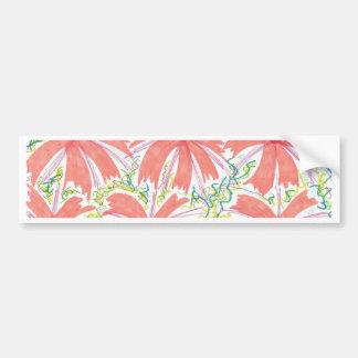 Sunburst Tropical Flower Pattern Bumper Sticker