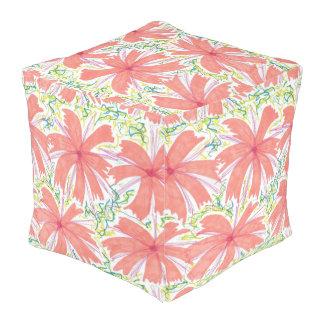 Sunburst Tropical Flower Pattern Square Pouf