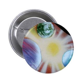 Sunburst with planets spray paint spraypainting pinback button