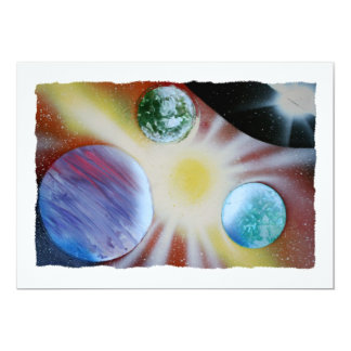 "Sunburst with planets spray paint spraypainting 5"" x 7"" invitation card"