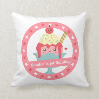 Sundae is for Sunday! Cute Cartoon Sundae Throw Pillow
