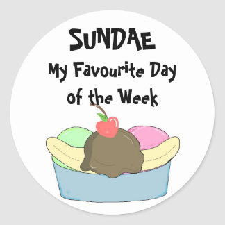 Sundae My Favourite Day.. Classic Round Sticker