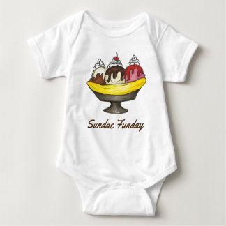 SUNDAE (SUNDAY) FUNDAY Ice Cream Banana Split Food Baby Bodysuit