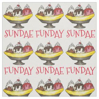 SUNDAE (SUNDAY) FUNDAY Ice Cream Banana Split Food Fabric