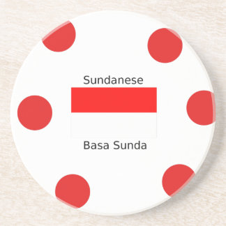Sundanese Language And Indonesia Flag Design Coaster