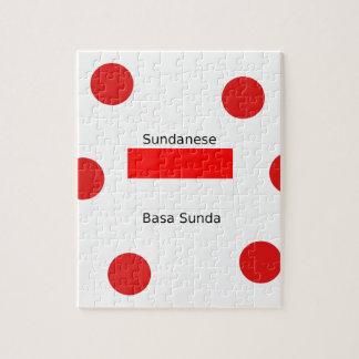Sundanese Language And Indonesia Flag Design Jigsaw Puzzle