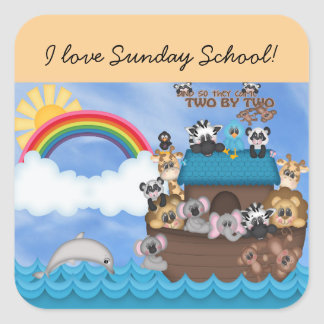 Sunday Bible School Noahs Ark of Animals Flood Square Sticker
