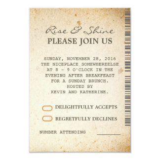 "Sunday Brunch Additional Wedding RSVP Cards 3.5"" X 5"" Invitation Card"